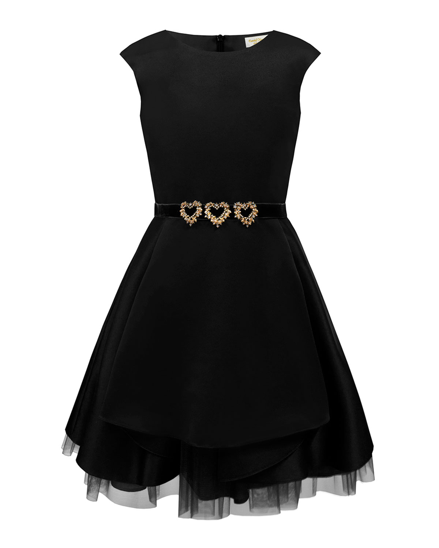 David Charles Dresses SATIN DRESS W/ GOLD HEART TRIM