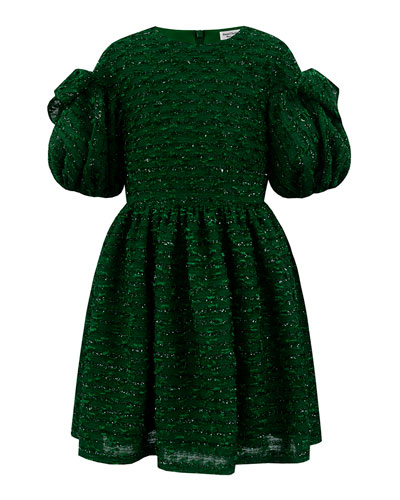 Boucle Sparkle Puffy Sleeve Dress, Size 4-8