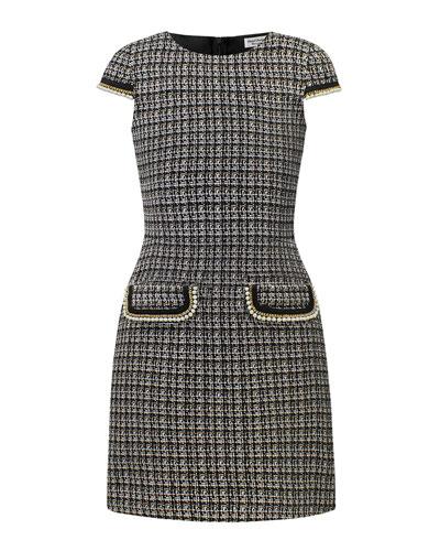 Tweed Faux Pearl Trim Dress, Size 10-16