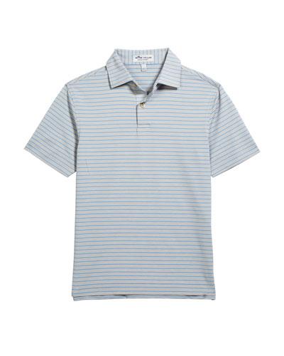 Boy's Crafty Stripe Jersey Polo Shirt, Size XS-XL