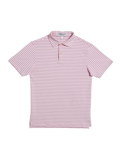 Boy's Crafty Stripe Jersey Polo Shirt, Size XS-XL