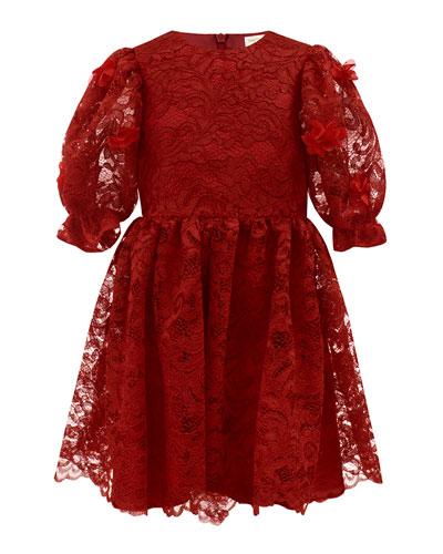 Puffy Sleeve Lace Dress, Size 4-8