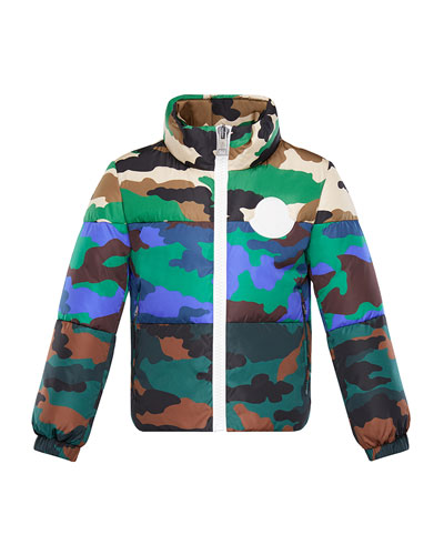 Mixed Camo-Print Puffer Jacket, Size 4-6