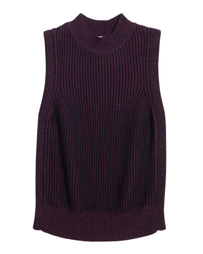 Girl's Braid Knit Sleeveless Sweater, Size 8-16