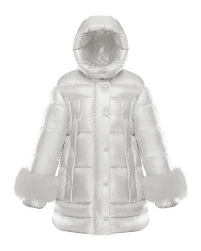 Girl's Quilted Long Coat w/ Fur Trim, Size 8-14