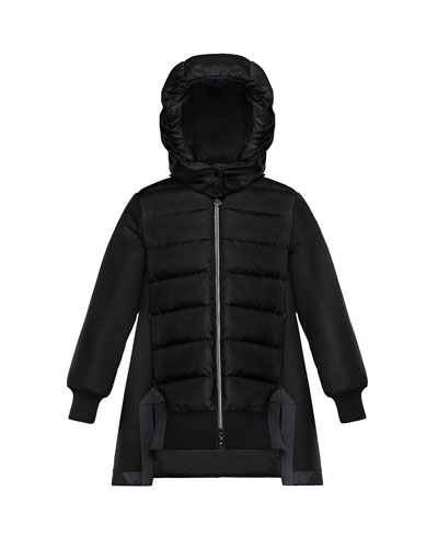 Longet Mixed Material A-Line Long Coat, Size 8-14