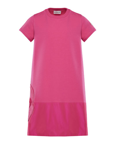 Short-Sleeve A-Line Dress w/ Side Logo Embroidery, Size 4-6