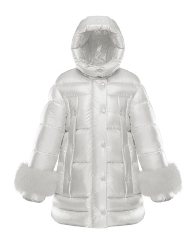 Girl's Quilted Long Coat w/ Fur Trim, Size 4-6