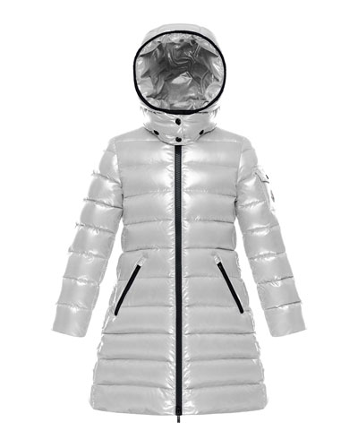 Quilted Hooded Long Coat, Size 8-14