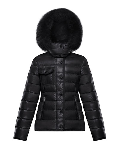 Armoise Quilted Nylon Puffer Jacket w/ Fur Trim, Size 8-14