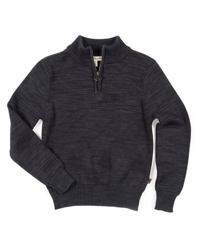 Boy's Mock-Neck Quarter-Zip Sweater, Size 2-10