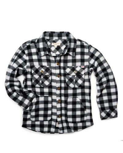 Gingham Fleece Collared Shirt, Size 2-10