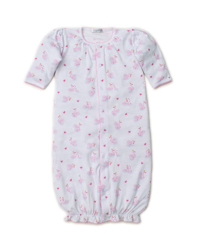 Sparkling Swans Printed Convertible Sleep Gown, Size Newborn-Small