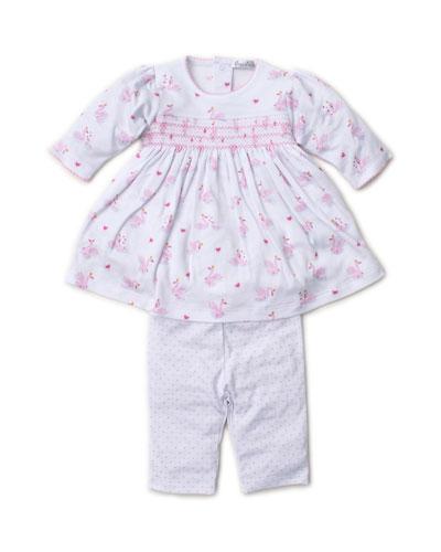 Sparkling Swans Printed Dress w/ Polka-Dot Leggings, Size 3-24 Months