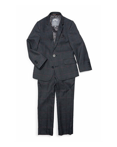 Boys' Windowpane Plaid Two-Piece Mod Suit, 2-14