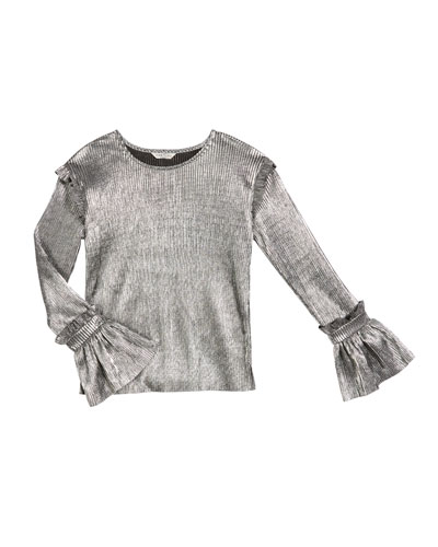 Nora Pleated Metallic Long-Sleeve Top, Size 7-14