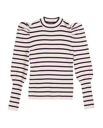Girl's Eden Striped Puff-Sleeve Knit Top, Size 7-14