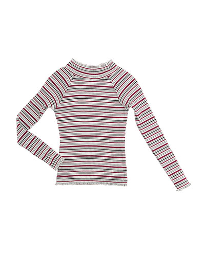 Adalynn Long-Sleeve Stripe Ribbed Top, Size 7-14