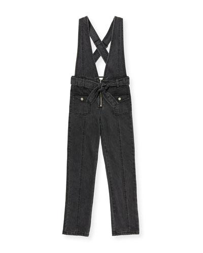 Ava Black Denim Skinny Jumpsuit, Size 7-14