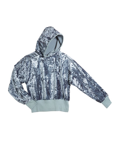 Marley Crushed Velour Knit Hooded Top, Size 7-14