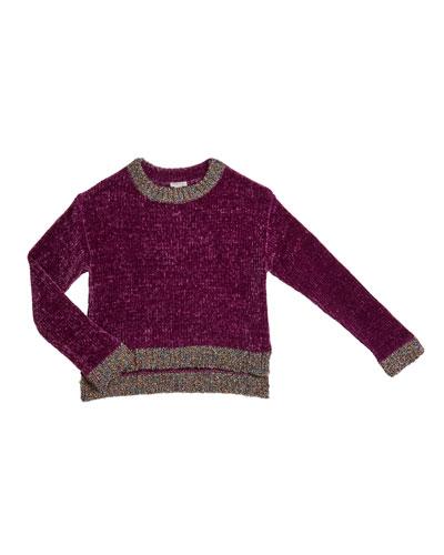 Cassidy Chenille Sweater w/ Metallic Lurex Trim, Size 7-14