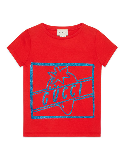 Glittered Strawberry Logo-Print Jersey Tee, Size 4-12
