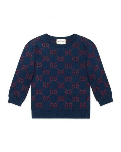 Girls' GG Printed 3/4-Sleeve Crewneck Sweater, Size 4-12