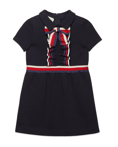 Girls' Short-Sleeve Collared Dress w/ Ribbon Detail, Size 4-12