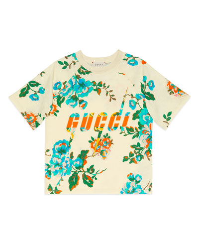Floral-Print Logo Short-Sleeve Tee, Size 4-12