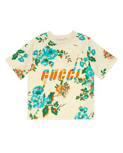 Floral-Print Logo Short-Sleeve Tee, Size 4-12
