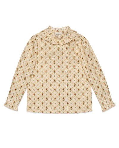 Girls' Ruffle Collar Blouse, Size 4-12