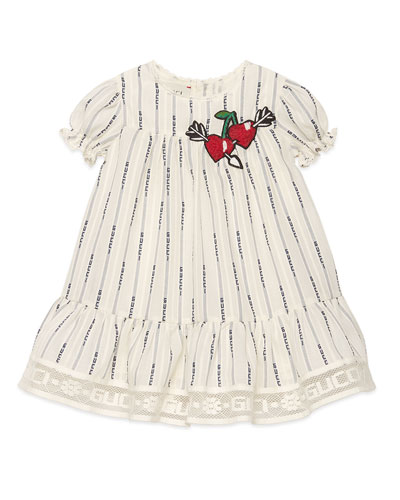 Logo Jacquard Puffy-Sleeve Dress w/ Cherries Embroidery, Size 12-36 Months