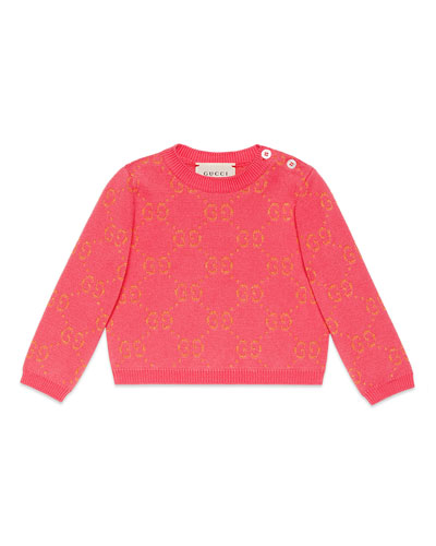 Metallic GG Jacquard Sweater, Size 6-36 Months