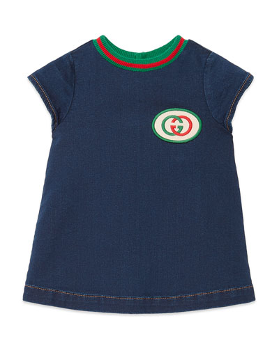 Short-Sleeve Denim Dress w/ Interlocking G Patch, Size 6-36 Months