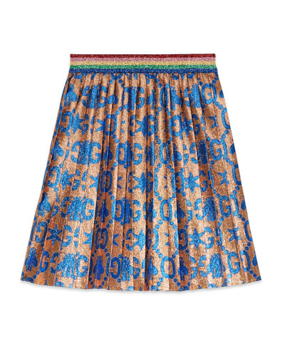 GG Bees & Stars Lame Jacquard Pleated Skirt, Size 4-12