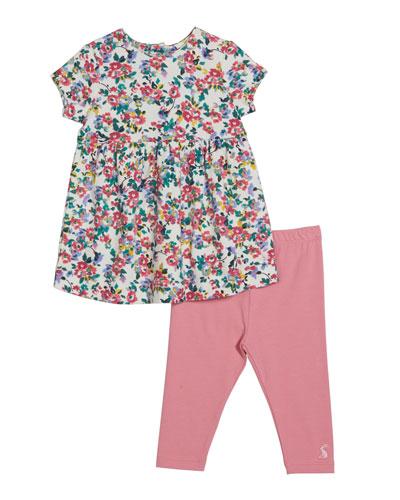 Christina Floral Print Long-Sleeve Dress w/ Striped Leggings, Size 6-24 Months