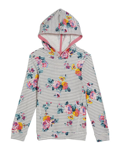 Marlston Striped & Floral Hoodie, Size 4-12