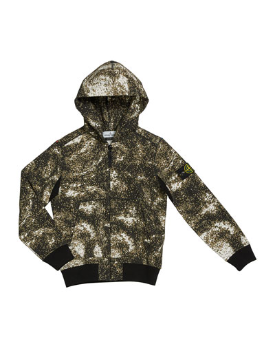 Boy's Digital Space-Print Zip-Front Hooded Jacket, Size 8-10