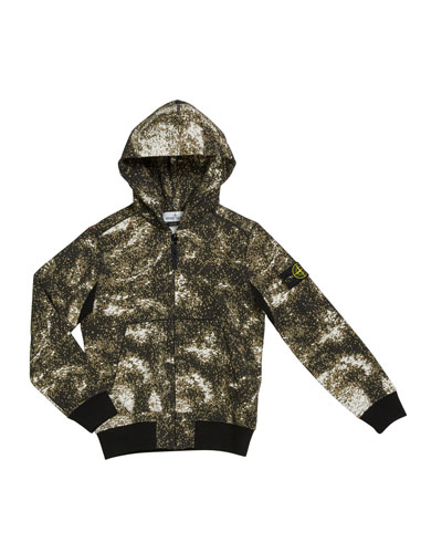 Boy's Digital Space-Print Zip-Front Hooded Jacket, 2-6