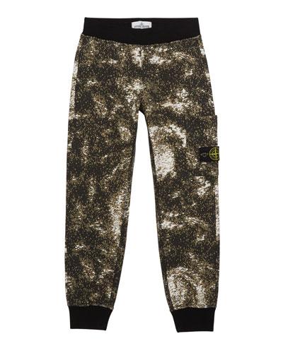 Boy's Digital Space Print Fleece Jogger Pants, Size 8-10