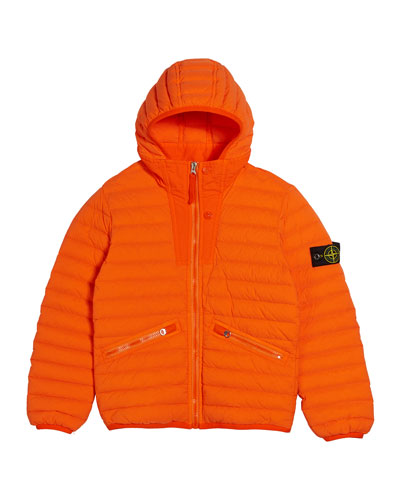 Channel Quilted Down Jacket, Size 8-10