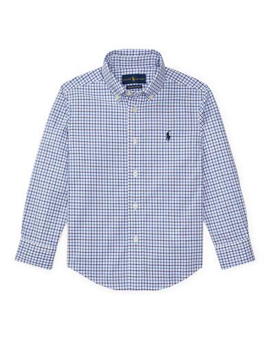 Poplin Woven Tattersall Sport Shirt, Size 4-7