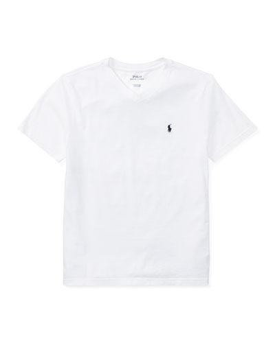 Short-Sleeve Jersey V-Neck T-Shirt, Size S-XL