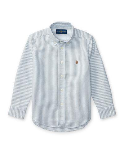 Cotton Oxford Stripe Sport Shirt, Size 4-7