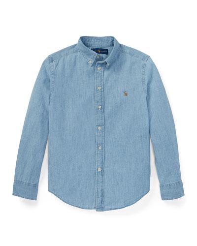 Woven Chambray Shirt, Size S-XL