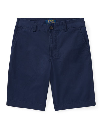 Flat Front Chino Shorts, Size 8-14