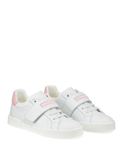 Grip-Strap Two-Tone Leather Logo Sneakers, Toddler