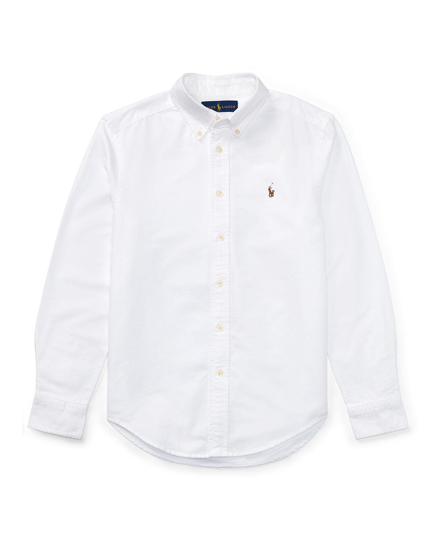 Ralph Lauren Childrenswear Cotton Oxford Sport Shirt In White