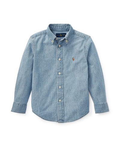 Woven Chambray Shirt, Size 4-7