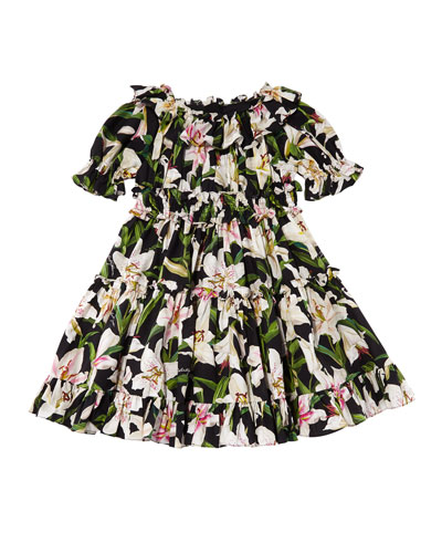 Girl's Lily Print Ruffle Poplin Dress, Size 8-12